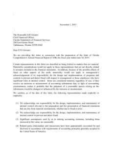Statewide Financial Statement Management Representation Letter