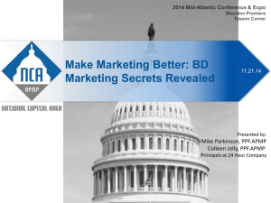 BD Marketing Secrets Revealed 2014 Mid-Atlantic