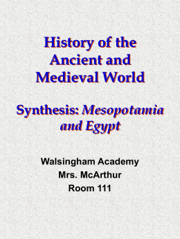 Synthesis-Mesopotamia and Egypt