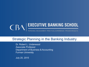 Overview of Strategy: Differentiating Within the Banking