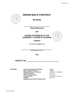 DB Cover Form of Contract - University System of Georgia