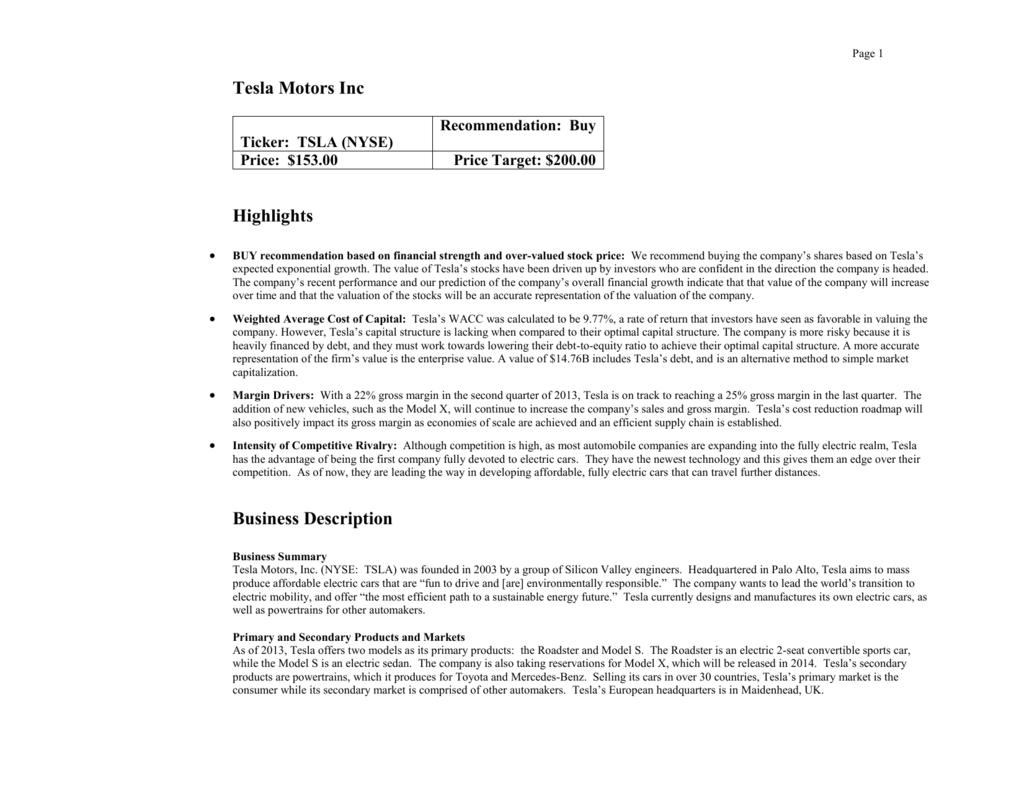 Tesla Motors Analysis - Andreina Acosta