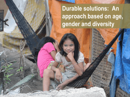 Durable solutions: An approach based on age, gender and diversity
