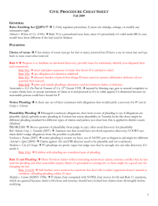 Civil Procedure Cheat Sheet