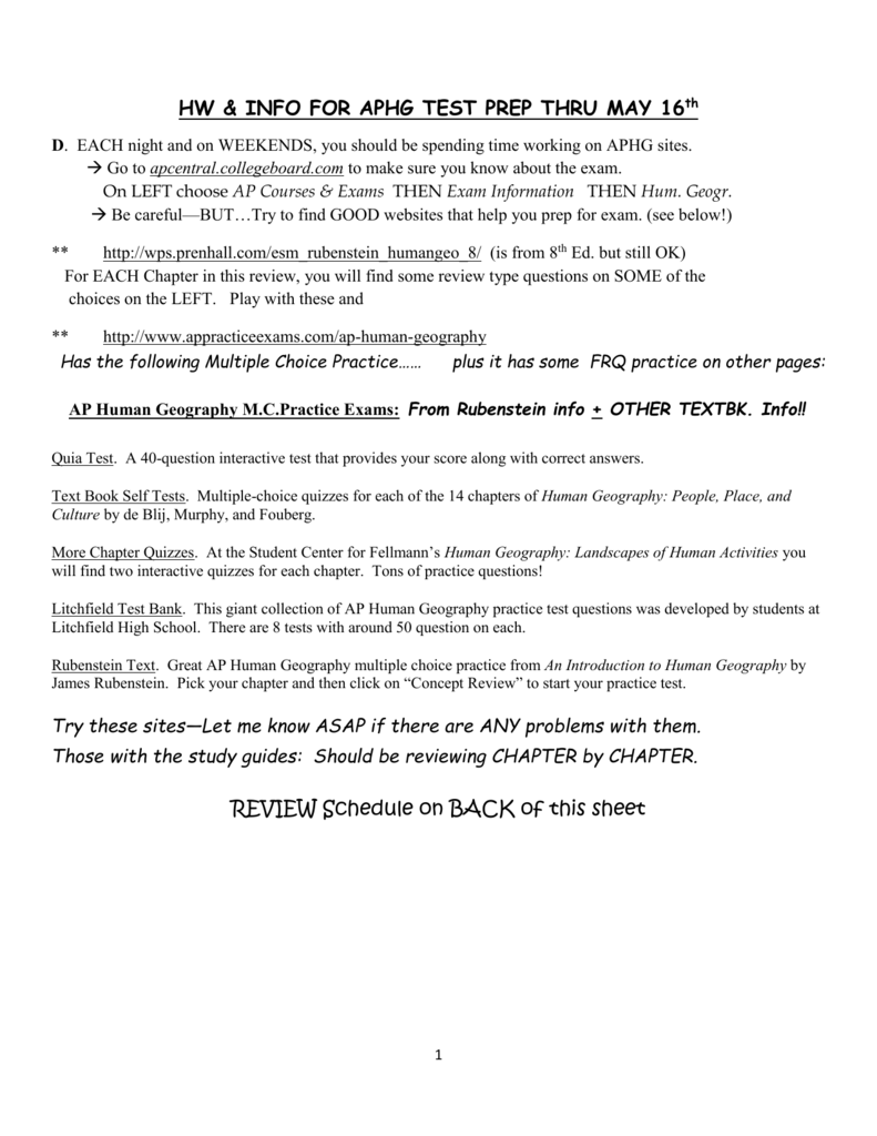 HW & INFO FOR APHG TEST PREP THRU MAY 16 th
