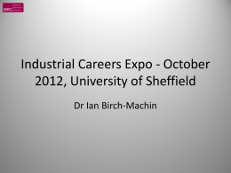 Industrial Careers Expo - October 2012, University of Sheffield