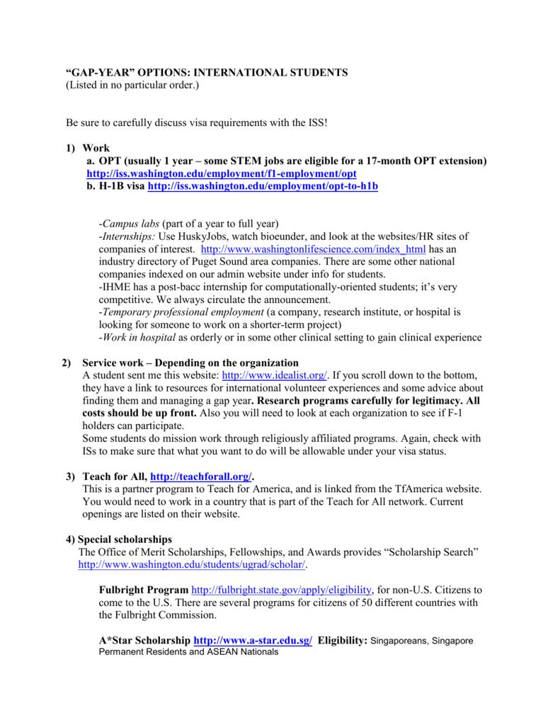 University Of Washington Scholarships >> Gap Year Suggestions University Of Washington Student Web