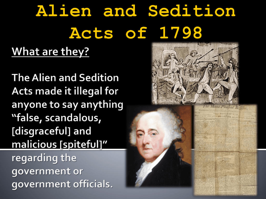 Alien and Sedition Acts of 1798