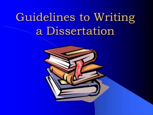 Guidelines to Writing a Dissertation