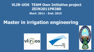 Master in Irrigation Engineering - VLIR-UOS