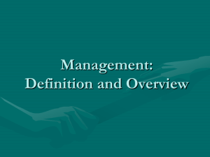 Management: Definition and Brief History