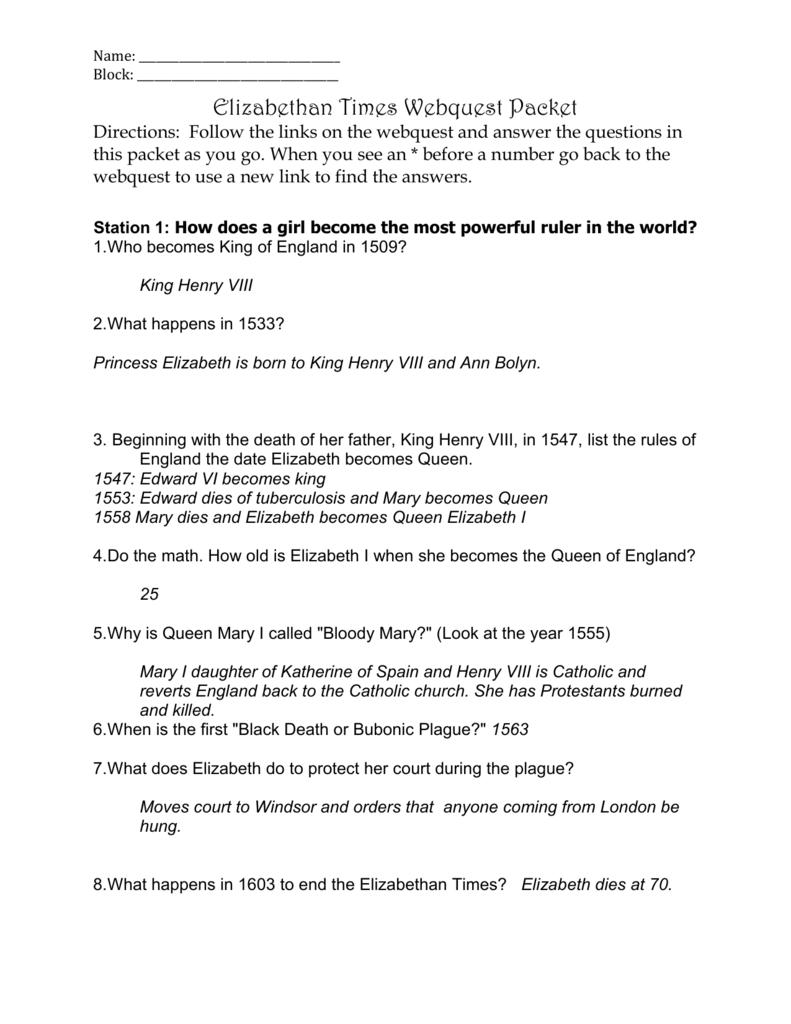 Elizabethan Times WQ Answer Key - ddemos