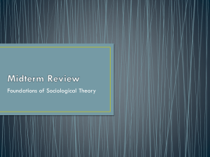Midterm Review - SOC 331: Foundations of Sociological Theory