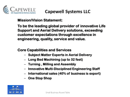 Capewell Systems – SBRT Reverse Matchmaker – 2014