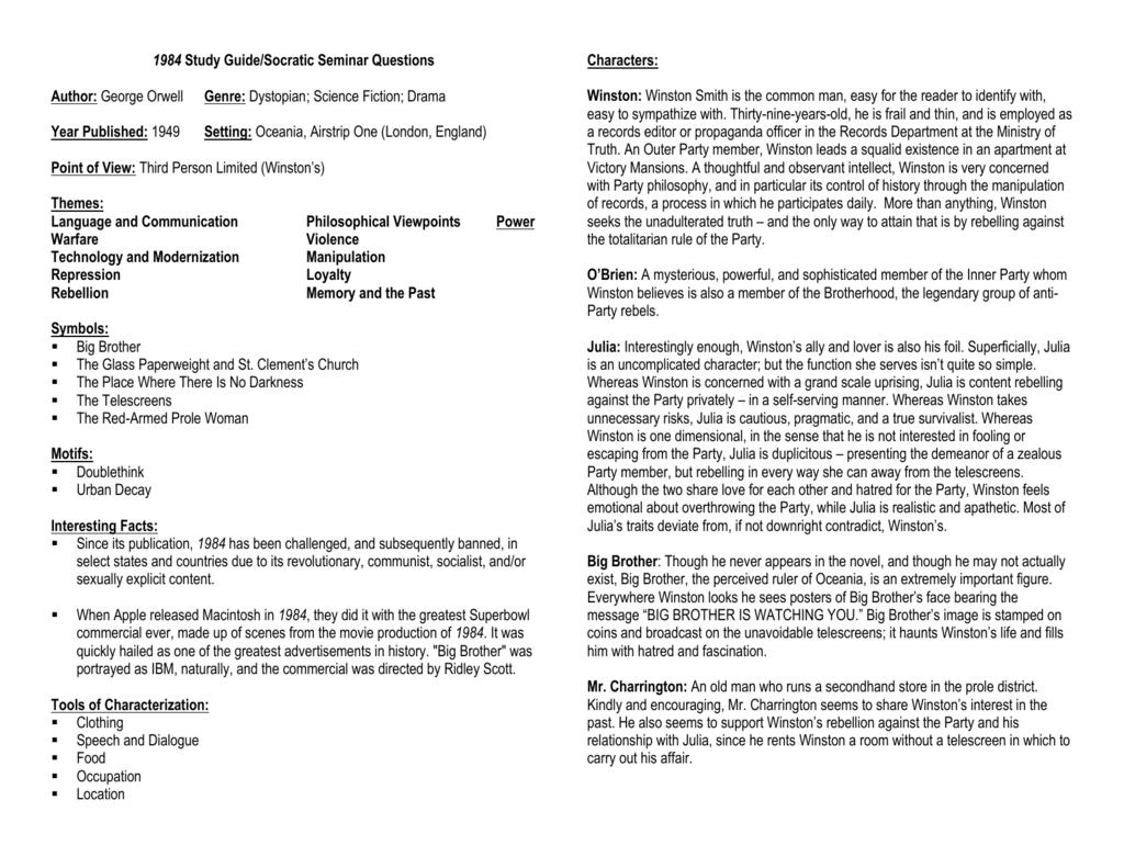 1984 study guide socratic seminar questions rh studylib net 1984 study guide vocabulary 1984 study guide quizlet