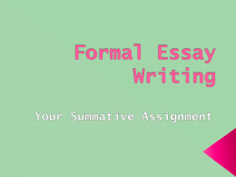 Writing an Essay PowerPoint