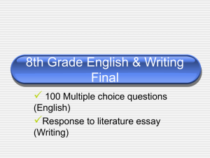 8th Grade English & Writing Final