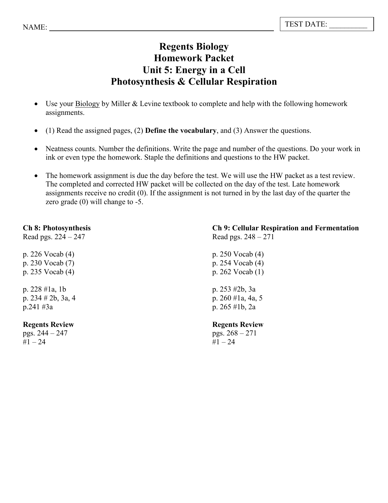worksheet Chapter 9 Energy In A Cell Worksheet photosynthesis and cellular respiration