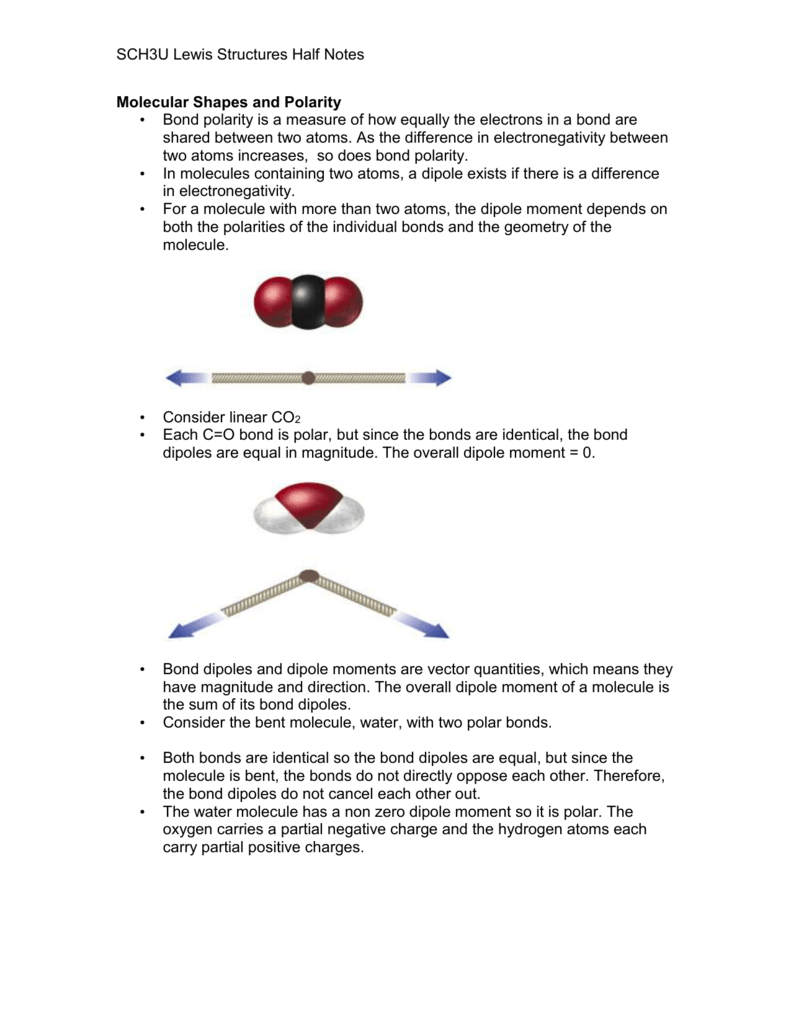SCH3U Lewis Structures Half Notes Molecular Shapes and Polarity