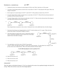 Worksheet - 6.1 and 6.2 - Coulomb's Law and Electric Field on a