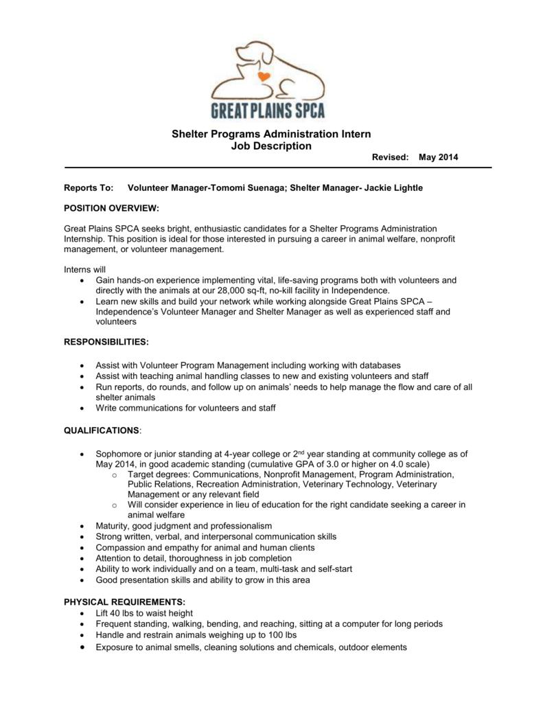Shelter Programs Administration Intern Job Description Revised