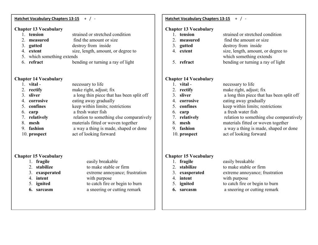 Worksheets Hatchet Worksheets hatchet vocabulary chapters 13 15