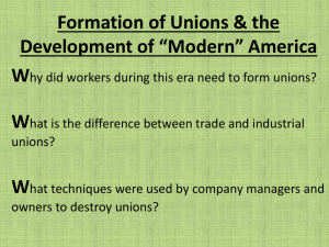 Unions, Eduation Reform, and the Modern America