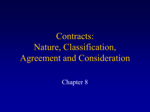 Contracts: Nature, Classification, Agreement, and Consideration