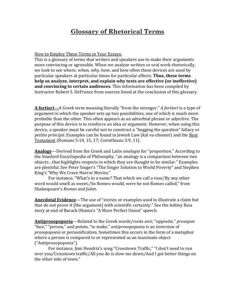 Glossary Of Rhetorical Terms Professor Defrance