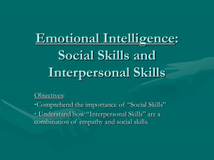 Emotional Intelligence: Social Skills and Interpersonal Skills