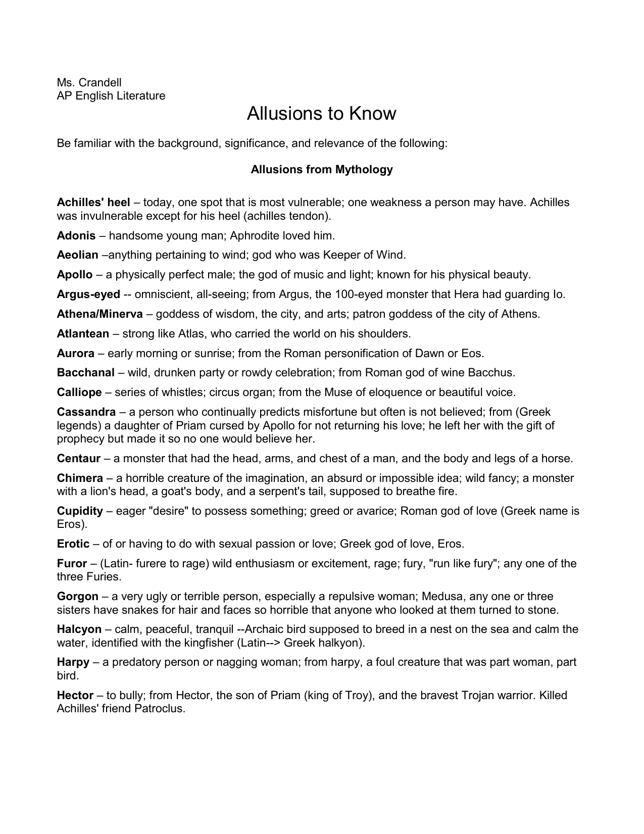 Allusions List