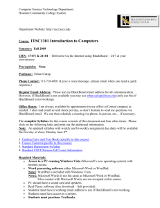 ITSC1301 - Syllabus - Part 1