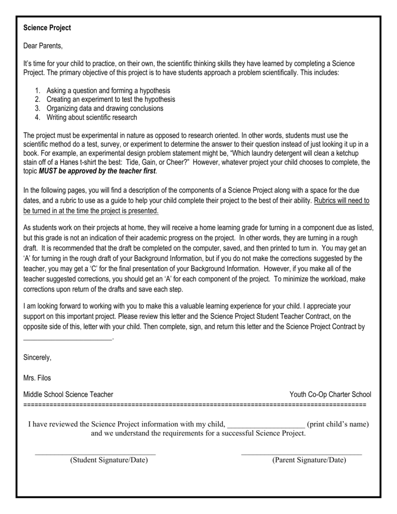 Science Project Packet – Hypothesis Worksheet Middle School