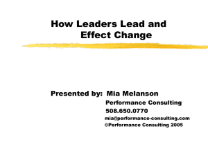 How Leaders Lead and Effect Change