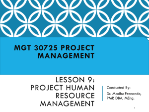 Lesson 9 – Project Human Resource Management