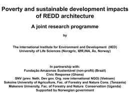 Poverty and sustainable development impacts of REDD architecture