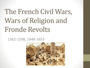 The French Civil Wars and the Wars of Religion