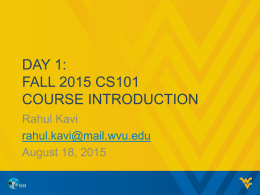 CS101 Presentation: Day 1 - Course Introduction
