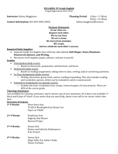 SYLLABUS: 9th Grade English Pisgah High School 2014