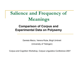 Salience and Frequency of Meanings