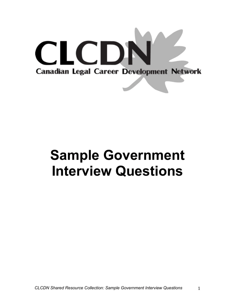 Sample Government Interview Questions