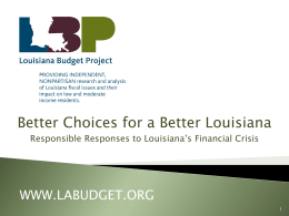Presentation at Better Choices for a Better Louisiana Planning