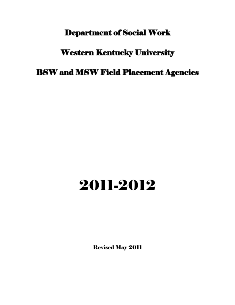 Department of Social Work Western Kentucky University BSW and
