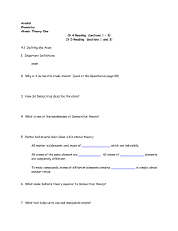 Arnoldi Chemistry Atomic Theory One Ch 4 Reading (sections 1 – 3
