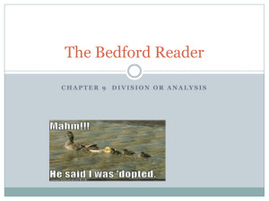 The Bedford Reader - Mrs. Knighten's AP 11 Semester 2