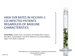 high svr rates in hcv/hiv-1 co-infected patients regardless of baseline