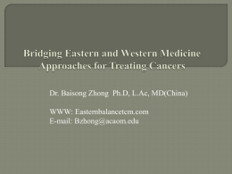 Bridging Eastern and Western Medicine Approaches for Treating