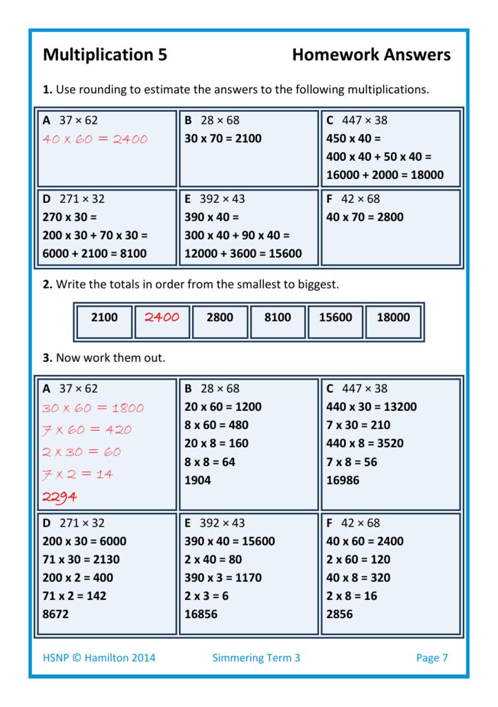Simm Mult 5 2 3 & 4 digit numbers by written algorithm