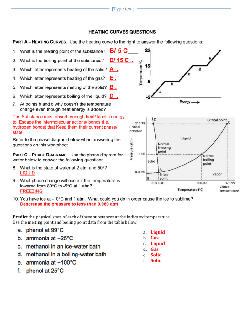 Worksheets Heating Curve Worksheet a 2 heat curves phase diagram worksheet key
