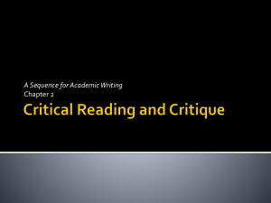 Critical Reading and Critique
